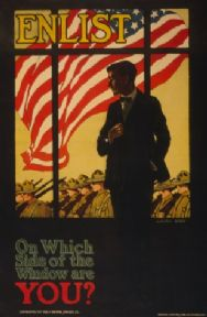 "Vintage American WW1 enlist Poster ""Enlist On which side of the window are you?"""